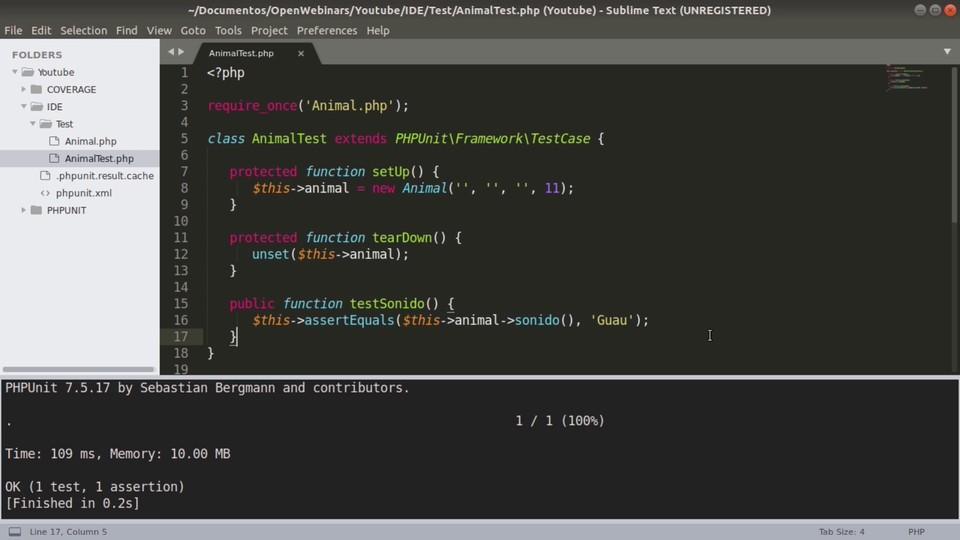 Imagen 2 en Cómo ejecutar pruebas PHPUnit con Sublime Text