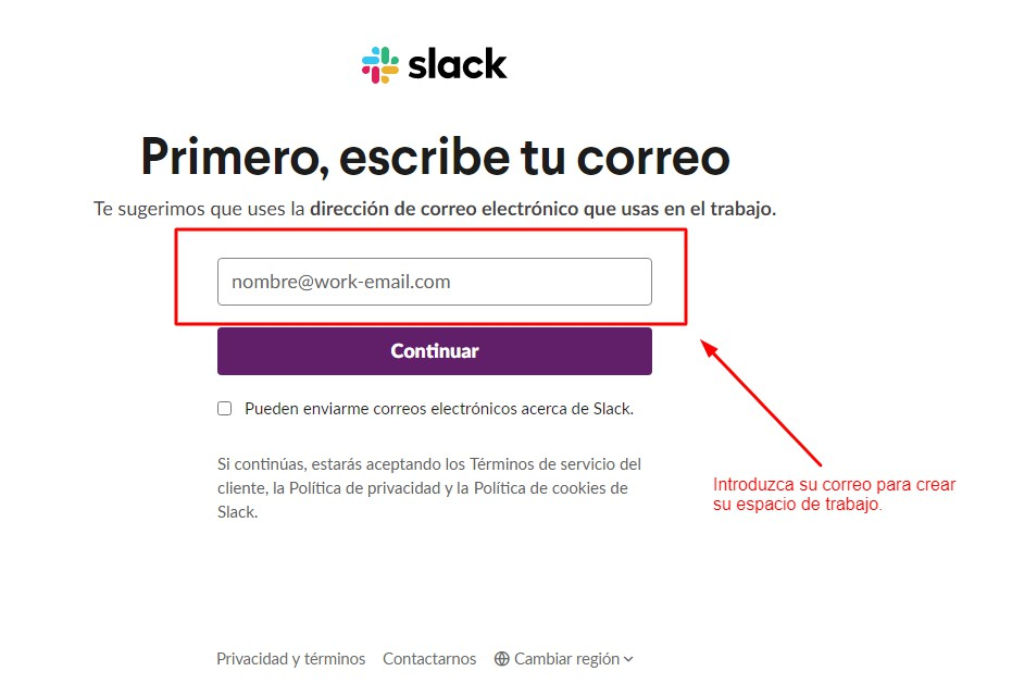 Registarse en Slack
