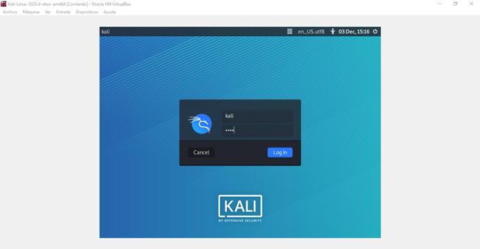 Login en Kali Linux