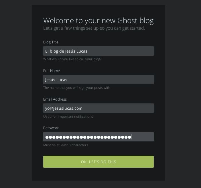 Imagen 2 en Instalación de Ghost en 5 minutos