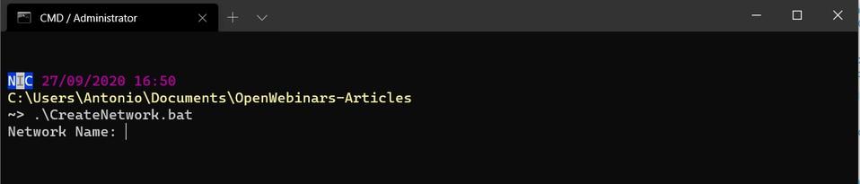 Ejecución de CreateNetwork.bat - Windows Terminal