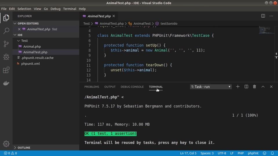 Cómo ejecutar pruebas PHPUnit con Visual Studio Code