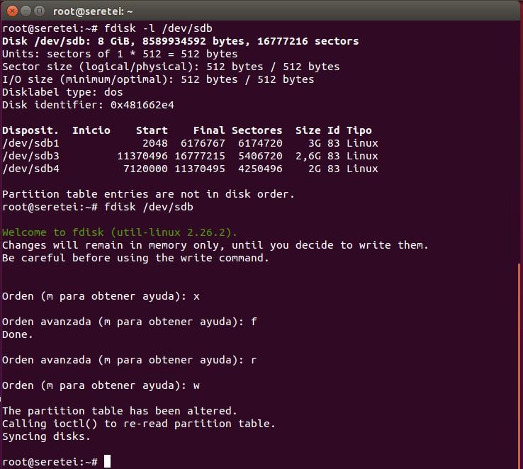 Imagen 8 en 9 comandos básicos Fdisk para gestionar el disco duro