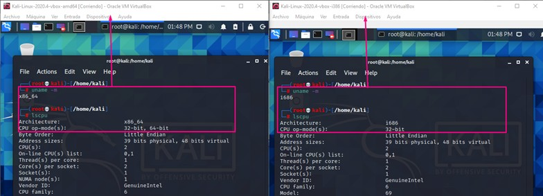 Tipos de arquitecturas de Kali Linux