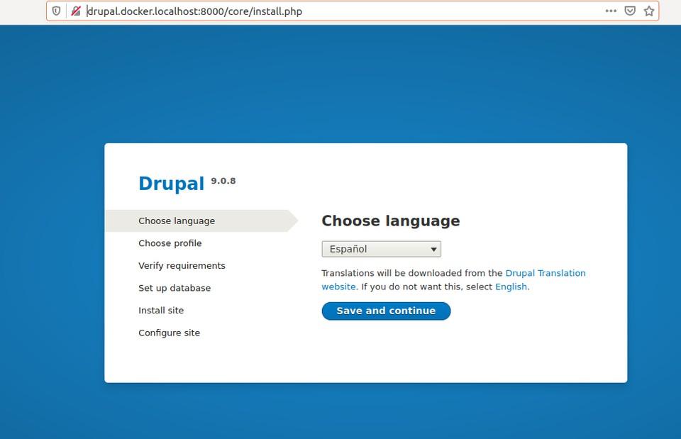 Drupal installer from Docker install