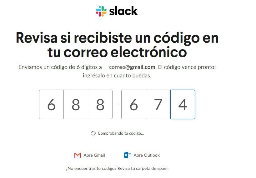 Código registro Slack