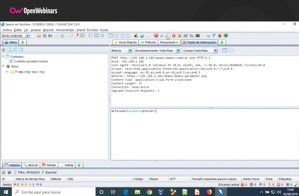 Imagen 7 en Realizar un ataque Parameter Tampering