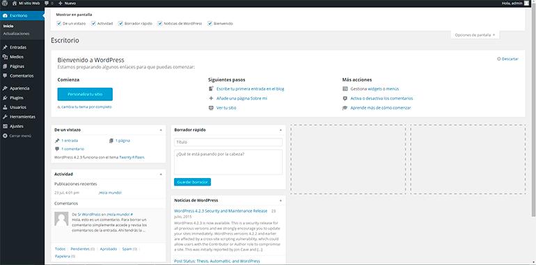 Imagen 0 en WordPress tutorial: Configuración