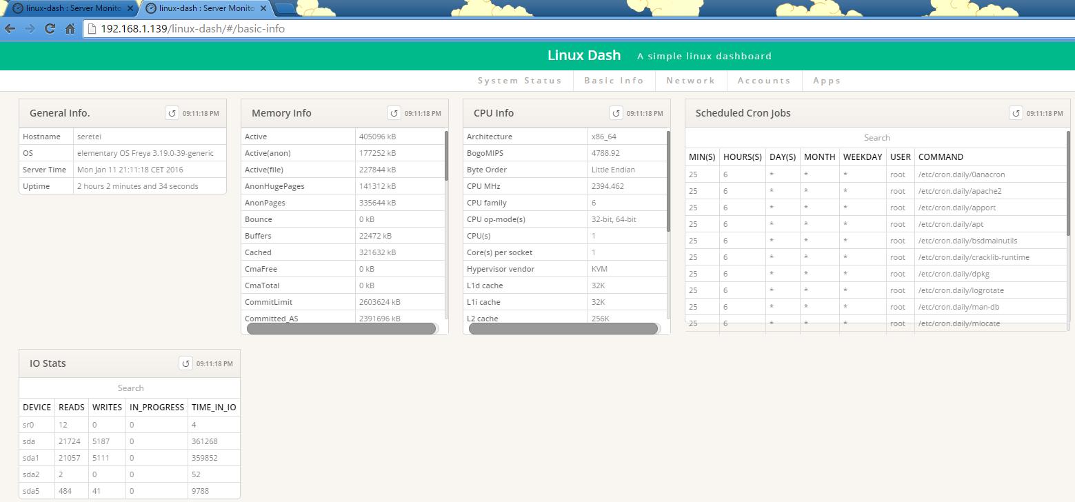 Imagen 2 en Linux-Dash, monitorizador con interfaz web