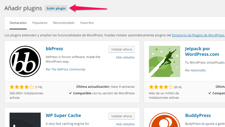 Imagen 4 en WordPress Tutorial: Instalar plugins