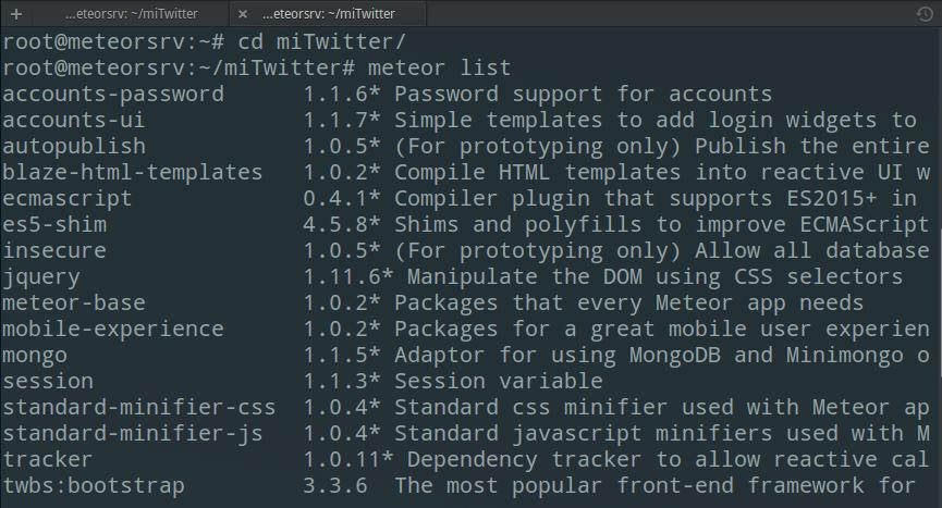 Listado de paquetes en Meteor