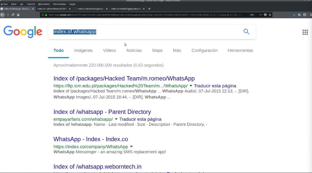Ejemplo búsqueda WhastApp